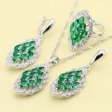 Set bijuterii din argint culoarea curcubeu/verde