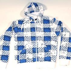Hanorac - alb cu patrate albastre..OFERTA !!, XL