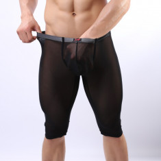 Pantaloni de Casa de Pijama Sexy Barbati Silky Satin Black Negru Jockstrap