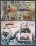 DB Burundi  Istorie  locomotiva cu aburi Stephenson  MS SS MNH, Nestampilat