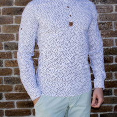 Camasa elastica ancore - camasa slim fit - camasa alba - camasa barbati