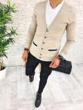 Bluza fashion barbati bej cu scris - COLECTIE NOUA - A2596 F3-2, L, M, S, XL, Bumbac, Din imagine