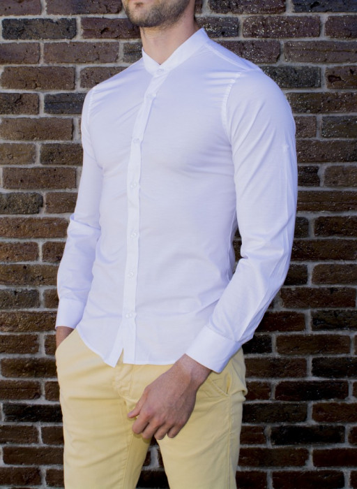 Camasa tunica - camasa slim fit - camasa alba - camasa barbati - camasa ocazie