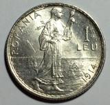 1 Leu 1914 Hamburg, Ag,  Romania, a UNC, Luciu, Argint