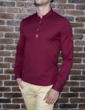 Camasa grena - camasa slim fit camasa barbati camasa tunica camasa 3 nasturi, L, M, S, XL, Maneca lunga, Din imagine