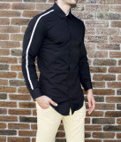 Camasa neagra - camasa slim fit camasa barbati camasa lunga, L, XL, XXL, Maneca lunga