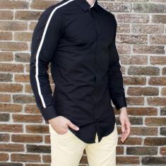 Camasa neagra - camasa slim fit camasa barbati camasa lunga, L, M, S, XL, XXL, Maneca lunga, Din imagine