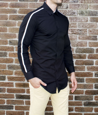 Camasa neagra - camasa slim fit camasa barbati camasa lunga foto