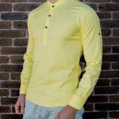 Camasa tunica galbena - camasa slim fit - camasa barbati - camasa ocazie, L, M, S, Maneca lunga, Din imagine