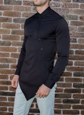 Camasa asimetrica - camasa slim fit - camasa neagra - camasa barbati foto
