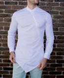 Camasa asimetrica - camasa slim fit - camasa barbati alba - camasa barbati, L, S, XL, XS, XXL, Maneca lunga, Alb