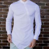 Camasa asimetrica - camasa slim fit - camasa barbati alba - camasa barbati