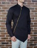 Camasa asimetrica cu fermoar - camasa slim fit - camasa neagra - camasa barbati, XL, Maneca lunga, Negru