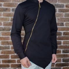 Camasa asimetrica cu fermoar - camasa slim fit - camasa neagra - camasa barbati, L, XL, Maneca lunga, Negru