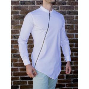Camasa asimetrica cu fermoar - camasa slim fit - camasa barbati alba