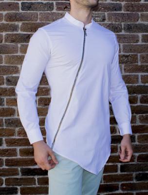 Camasa asimetrica cu fermoar - camasa slim fit - camasa barbati alba foto