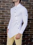 Camasa asimetrica barbat - camasa alba camasa barbat camasa slim camasa contrast, S, XS, Maneca lunga, Alb