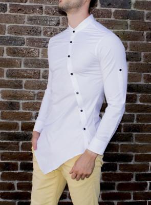 Camasa asimetrica barbat - camasa alba camasa barbat camasa slim camasa contrast foto