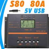 Controller/Regulator SOLAR 80A LCD USB Panouri fotovoltaice