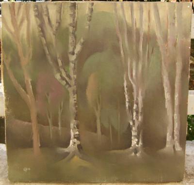 Tablou Peisaj de toamna tarzie pictura ulei pe panza 46x46,5cm foto