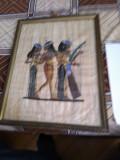 Papirus egiptean, reprezentand muzicieni, inramat, 38x48cm, fara rama