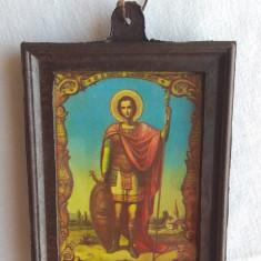 veche litografie de colectie icoana Sfantul Mare Mucenic Mina