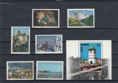 ROMANIA 1977 LP 960 LP 961 OBIECTIVE  TURISTICE SERIE SI COLITA    MNH foto