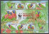 DB WWF Vanuatu Papagali MS MNH, Nestampilat