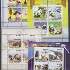 DB Sao Tome Fauna Panda Tigri Elefanti Cercetasi Baden Powel 4 MS MNH