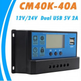 Regulator / Controller solar CM-40K 40A LCD 2x USB Panouri fotovoltaice
