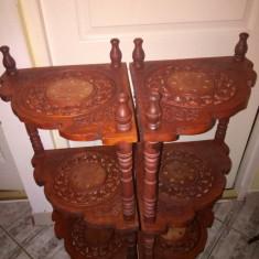 Superb set de 2 colțare etajere din lemn de trandafir sculptate integral manual
