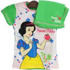 Tricou si pantaloni scurti Alba ca Zapada Disney, Alb/Verde, pentru fetite, 92/98