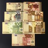 Set 7 Bancnote EURO -  Bancnote placata cu aur - COLOR