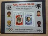 NICARAGUA 1979 COLITA NESTAMPILATA COTA 45 EURO ,SPORT, OLIMPIADA, ANUL COPIL., Nestampilat