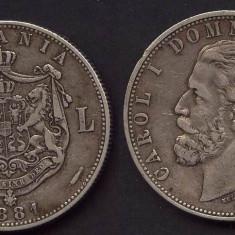 Carol I Domnul Romaniei  5 lei 1881, Argint