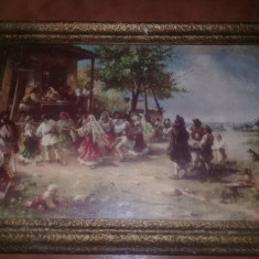 Tablou Vechi cu eticheta Hora de la aninoasa 1890 .....THEODOR AMAN,T.GRATUIT