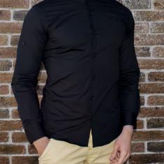 Camasa tunica - camasa slim fit - camasa neagra - camasa barbati - camasa ocazie, M, XL, XXL, Maneca lunga, Negru