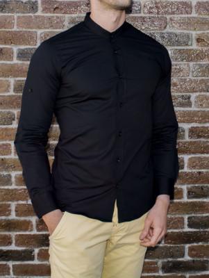 Camasa tunica - camasa slim fit - camasa neagra - camasa barbati - camasa ocazie foto