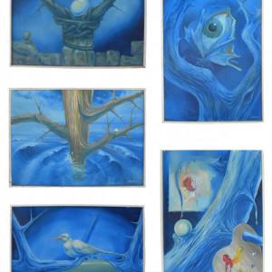 Geneza albastra - Set 5 picturi de Bogdan Enache, suprarealism, ulei pe panza