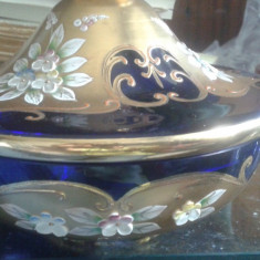 Vaza/bomboniera Aur Cristal albastru