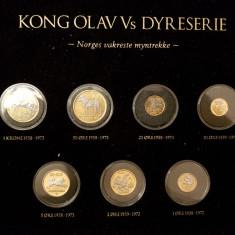 NORVEGIA Serie monede cu animalele regelui Olav acoperite cu aur si platină, Europa