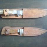 Cutite vanatoare cu manere din os lucrate manual si teci de piele