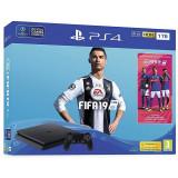 Consola Sony Playstation 4 SLIM, 1 TB, Negru plus Joc FIFA 19 si voucher 14 days PS PLUS