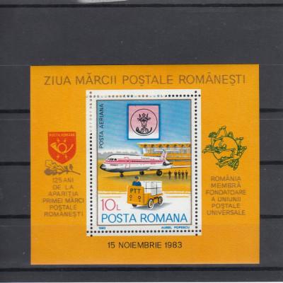 ROMANIA 1983   LP 1083  ZIUA MARCII POSTALE ROMANESTI  COLITA  MNH foto