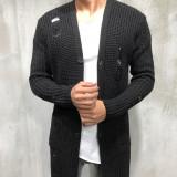 Cardigan barbati lung  negru  SlimFit cu rupturi decorative Tricotat gros, L/XL, S/M, Acril