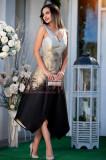 Rochie eleganta de seara din tafta tesuta cu auriu, Raspberry
