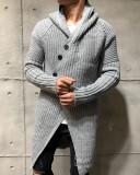 Cardigan barbati asimetric gri SlimFit cu Gluga Tricotat gros, L/XL, Acril