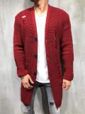 Cardigan barbati lung  grena  SlimFit cu rupturi decorative Tricotat gros, L/XL, S/M, Acril