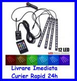 Kit Complet interior LED 4 x Benzi 12 SMD RGB cu telecomanda 22cm Senzor Muzica, Universal