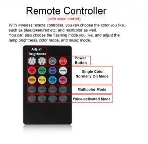 Kit Complet interior LED 4 x Benzi 12 SMD RGB cu telecomanda 22cm Senzor Muzica